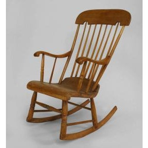Americana Late 20th Century American Country style stripped pine spindle back rocking chair For Sale - Image 3 of 3