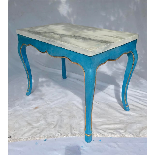 Italian Marble Top Cocktail Table in the Louis XV Style Having Hoof Feet For Sale - Image 12 of 13