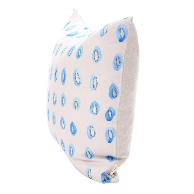 "Blue Kiwis on Fog Grey Linen Pillow - 18"" x 18"" - Image 2 of 3"