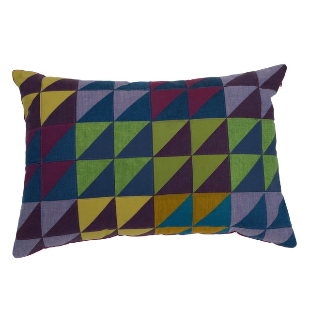 Modern Rectangular Multi-Color Quilted Pillow For Sale