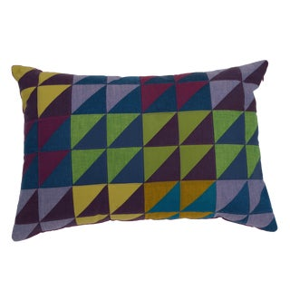One-Of-A-Kind Rectangular Quilted Pillow in Green, Blue and Lavender Cotton
