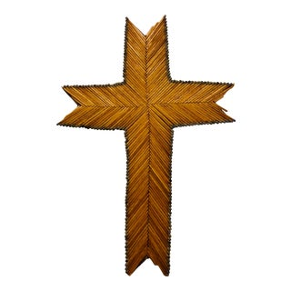 Antique Folk / Tramp Art Match Stick Cross For Sale