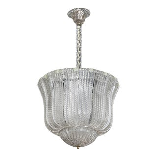 Barovier and Toso Clear Glass Hanging Fixture or Lantern For Sale
