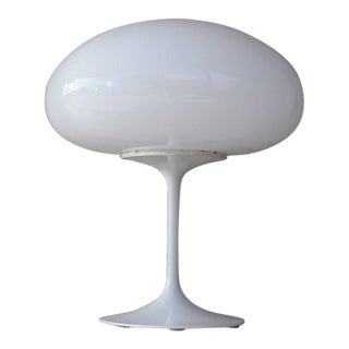 1960s Mid-Century Modern Bill Curry for Stemlite White Mushroom Table Lamp For Sale