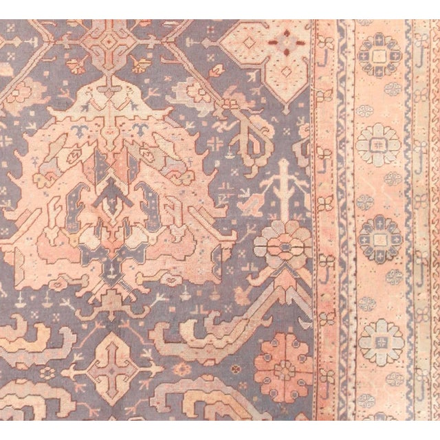 Early 20th Century Large Scale Antique Turkish Oushak Rug - 12′3″ × 14′6″ For Sale - Image 5 of 7