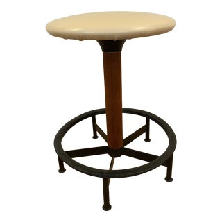 Mid Century Industrial Low Stool For Sale