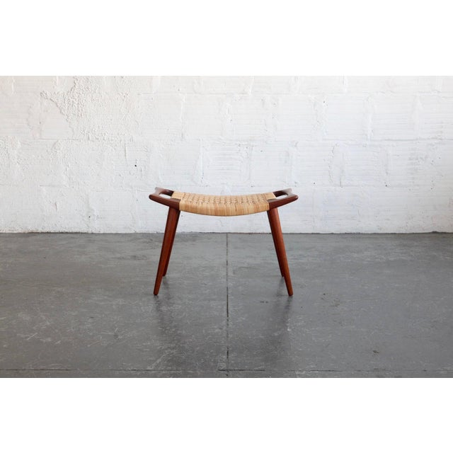 1950s Hans Wegner Teak & Cane Stool For Sale - Image 5 of 5