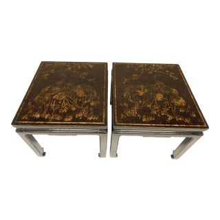 19th Century Chinoiserie Black Lacquered Coffee Tables - a Pair For Sale