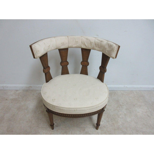 French Provincial Vintage Italian Regency Cherrywood Fireside Side Lounge Chair For Sale - Image 3 of 11