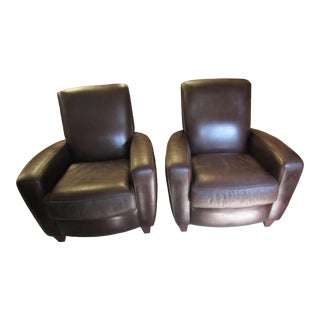 American Leather Brown Leather Club Chairs - a Pair For Sale