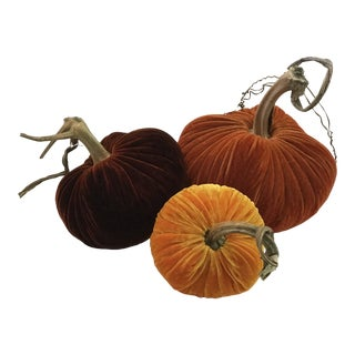 Plush Pumpkins Traditional Fall Pumpkin Trio - Set of 3