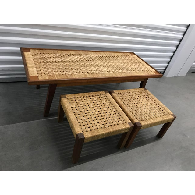 Danish Modern Mid-Century Woven Rope Coffee Table & Stools - Set of 3 For Sale - Image 3 of 6