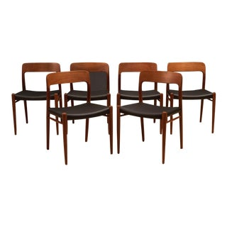 Danish Modern Teak Niels Moller 75 Dining Chairs - Set of 6 For Sale