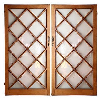 Pine Diamond Paneled Doors - A Pair For Sale