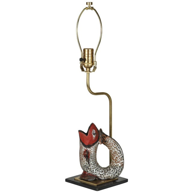 Fish Shaped Folk Art Pitcher Lamp - Image 1 of 4