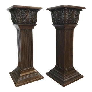 Early 20th Century Vintage Wood Column Stands - A Pair For Sale