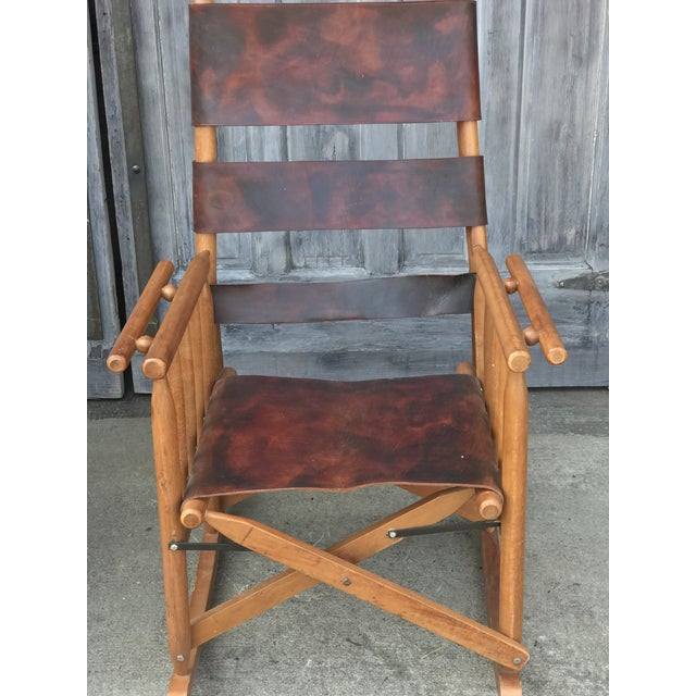 1960s Campaign Style Folding Leather Rockers For Sale - Image 5 of 8