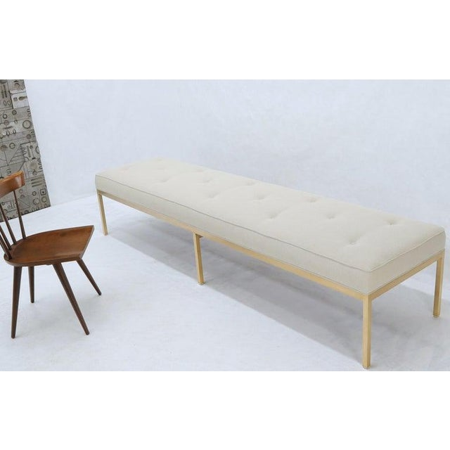 Extra Long Solid Brass Base Frame Spring Loaded New Upholstery Bench Daybed For Sale - Image 10 of 13