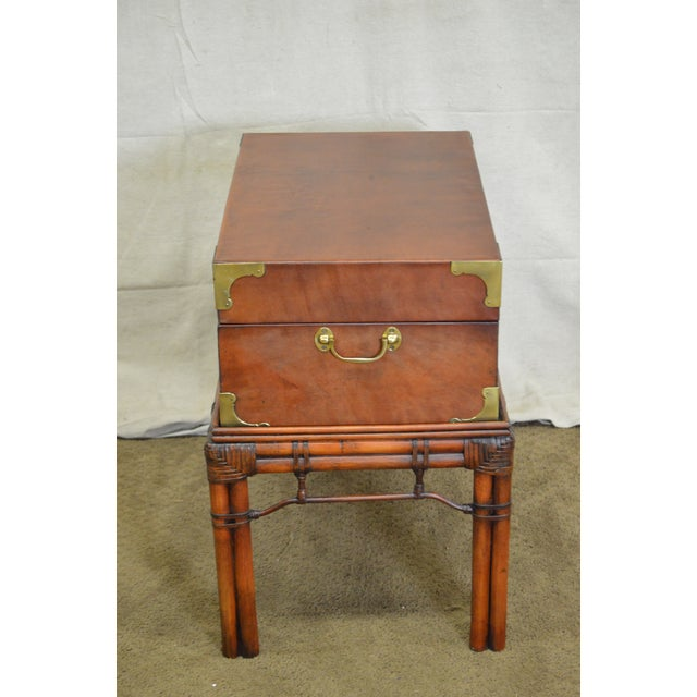 Regency Craftwork Gilt Campaign Style Lidded Accent Chest on Bamboo Frame For Sale - Image 3 of 10