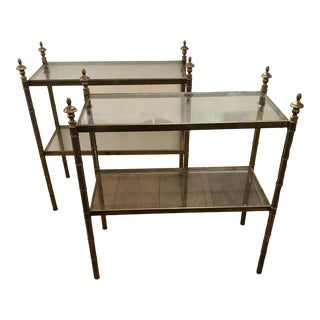 Two Tier Brass & Glass End Tables -A Pair For Sale
