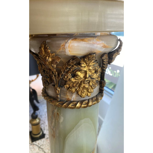 Metal Antique 1920s Neoclassic Revival Pedestal Onyx and Bronze Dore For Sale - Image 7 of 13