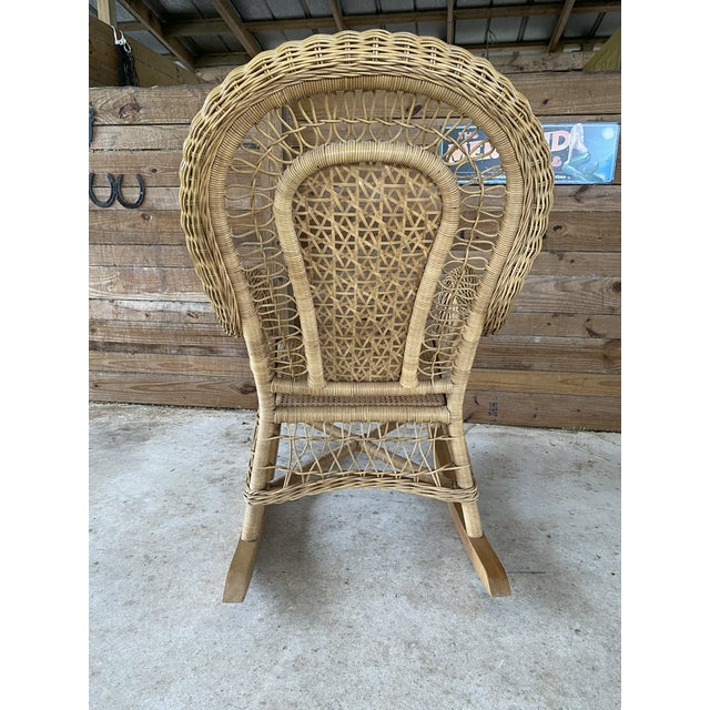 Farmhouse 1980's Vintage Fiddlehead Wicker Rocking Chair For Sale - Image 3 of 12