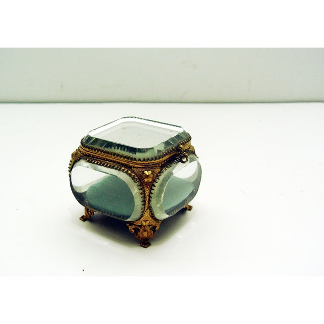 Vintage French Beveled Mirrored Glass & Ormolu Box - Image 2 of 5
