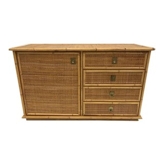 Mid Century Dal Vera Rattan Side Cabinet For Sale