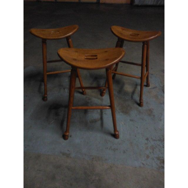 Saddle Seat Bar Stools - Set of 3 - Image 3 of 4