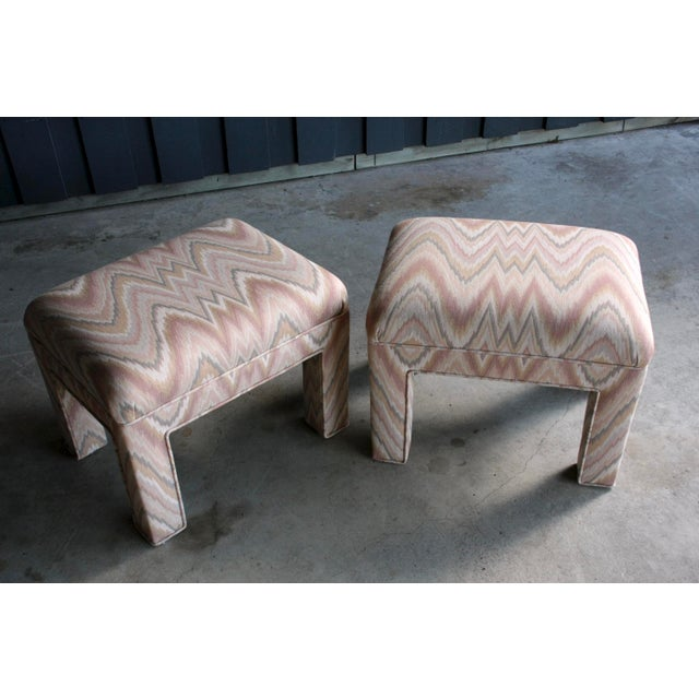 1980s 1980s Contemporary Flamestitch Parsons Ottomans, a Pair For Sale - Image 5 of 10