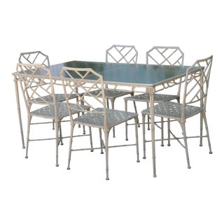 Brown Jordan Calcutta Faux Bamboo 7 Piece Patio Set