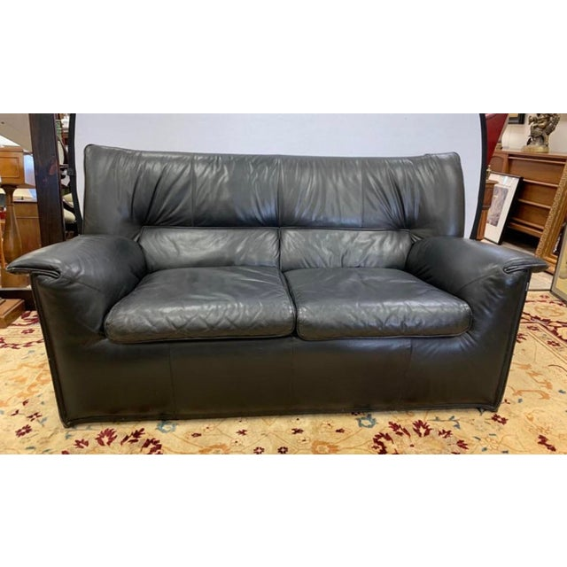 Black B&b Italia Lauriana Black Leather Loveseat Sofa by Afra &Tobia Scarpa For Sale - Image 8 of 11