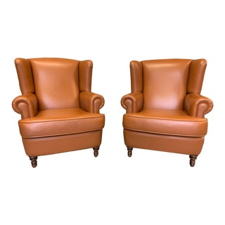 Vintage Belgian Leather Wingback Chairs, Camel - a Pair For Sale