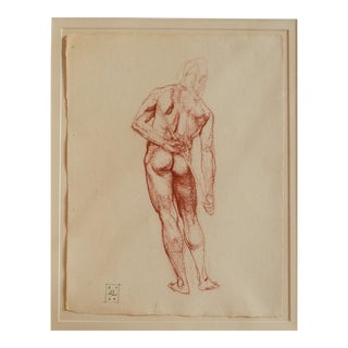 "Benjamin F. Long IV Male Figure ""Back Holding Staff"" Drawing For Sale"