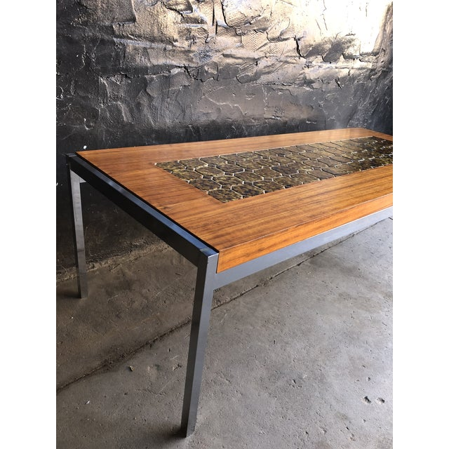 1960s 1960s Mid Century Modern Teak & Chrome Tiled Coffee Table For Sale - Image 5 of 6