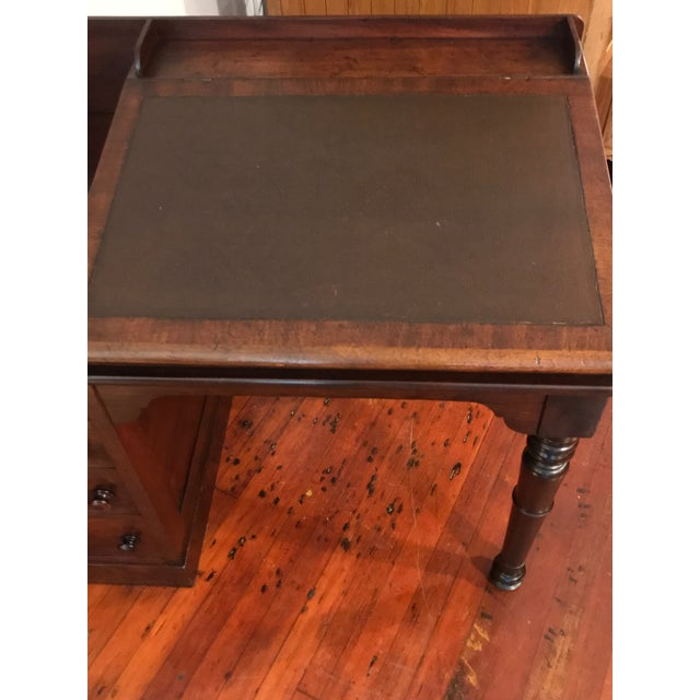 Brown Victorian Burly Walnut Lift Top Desk, Side Drawers Turned Legs For Sale - Image 8 of 10