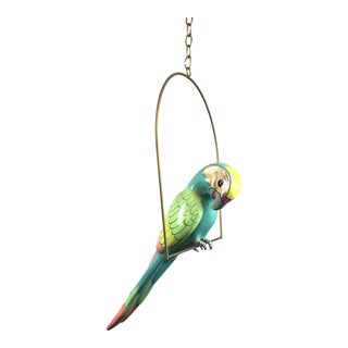 Signed Paper Mache Hanging Bird Parrot For Sale