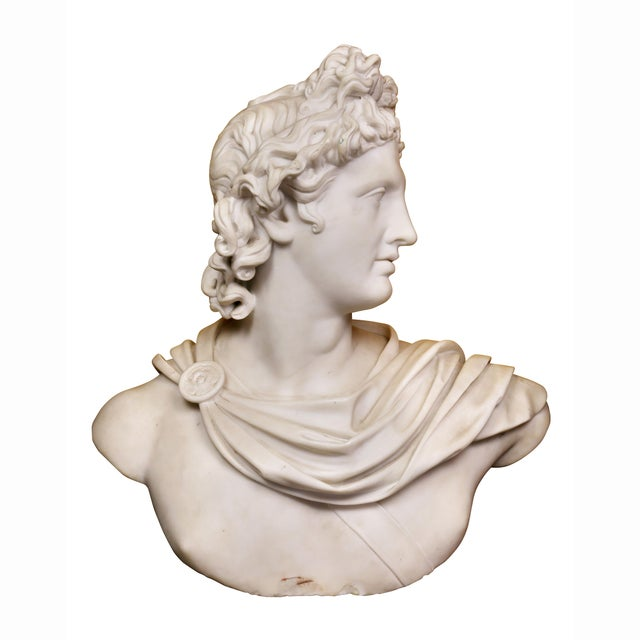 Late 19th Century Italian White Marble Bust of Apollo Belvedere With Bauhaus Design Pedestal Base For Sale - Image 5 of 9