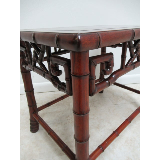 Vintage Chinese Chippendale Rosewood Faux Bamboo Lamp End Table For Sale In Philadelphia - Image 6 of 10