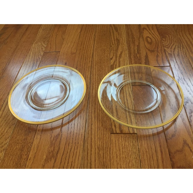 Glass Gold Rimmed Plates - A Pair - Image 4 of 6