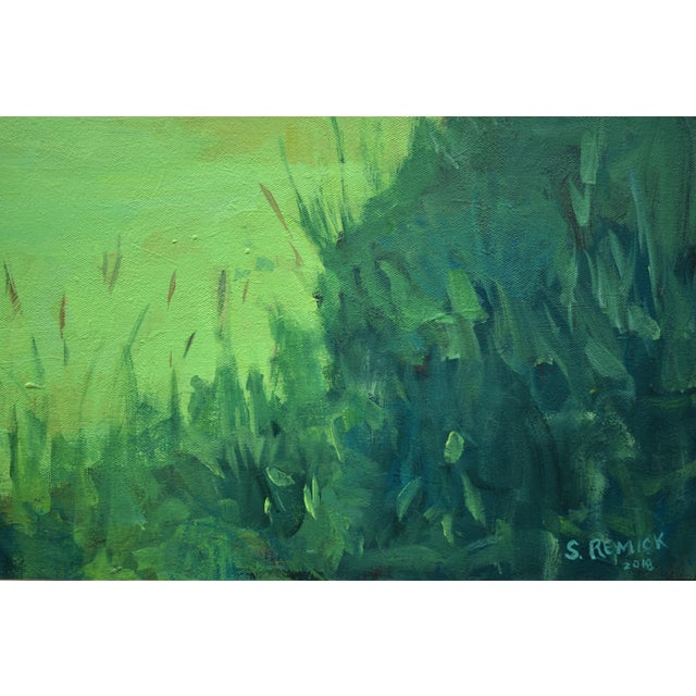 """Blue """"Glowing Green ~ Algae Covered Pond"""" Painting For Sale - Image 8 of 13"""