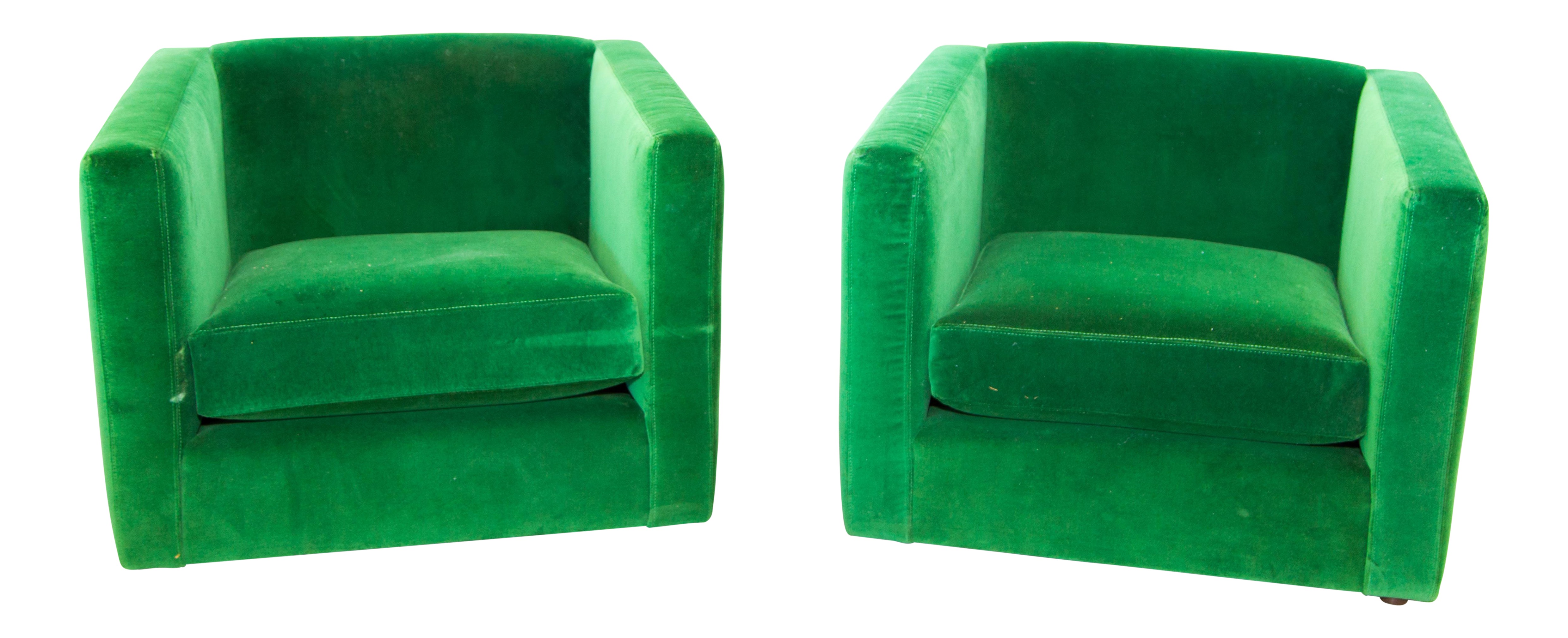 Mid Century Emerald Green Side Chairs   A Pair