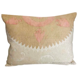 Early 20th C. Vintage Embroidered Samarkand Down Feather Lumbar Pillow For Sale