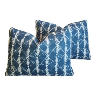 "Designer Chris Barrett Blue & White Feather/Down Pillows 23"" X 17"" - Pair For Sale"