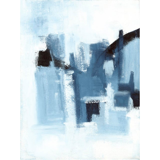 This unique diptych reveals a landscape across 2 canvases. Navy and light blue are highlighted in this acrylic set of...