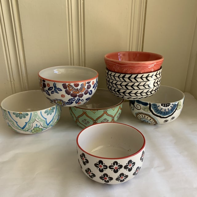 2000 - 2009 Eclectic Patterned Cottage Farmhouse Bowls, Set of Seven For Sale - Image 5 of 11