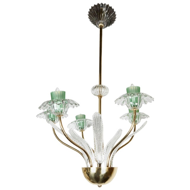 Italian, 1950s Murano Glass and Brass Chandelier For Sale