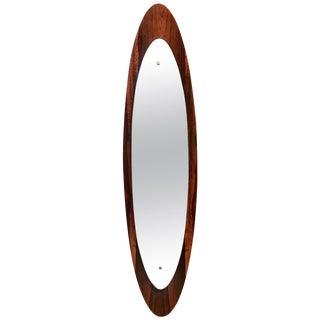 Italian Modern Wall Mirror Oval Teak Frame, 1950s For Sale