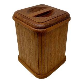 Mid-Century Teak Wood Ice Bucket Canister For Sale