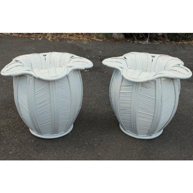 1970s 1970s Mid Century Modern Pencil Reed Bell Flower Side Tables or Nightstands - a Pair For Sale - Image 5 of 9